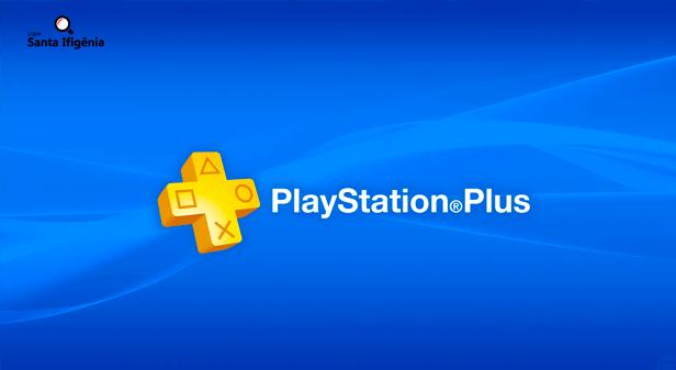logo da PlayStation Plus em fundo azul