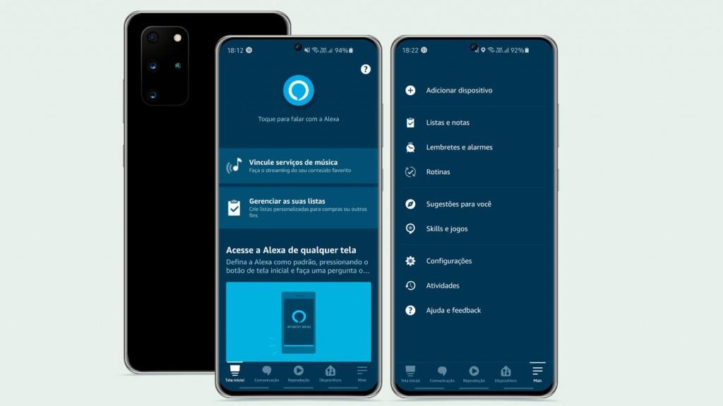 Tela do aplicativo Amazon Alexa